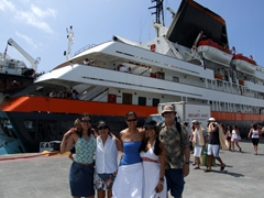 Franny, Ann, Becky, Kammi, and Bob are all set to explore St Martin (EasyCruise is in the background)