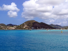 Views of St Martin from Philipsburg's harbor