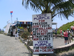 """Vote Purple for Freedom"" sign urging voters in an upcoming election"