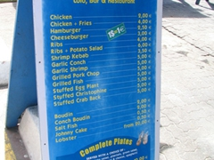 A sample menu for a typical lolo BBQ stand (take note that at the lolo stands, 1 $ = 1Euro...what a great deal!)