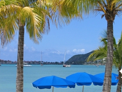 Lounge chairs for rent on Philipsburg Beach