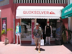 Robby smiling after a shopping spree at Quiksilver;  Philipsburg