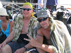 Bob and Robby stay out of the sun while waiting to scuba dive; Dive Safaris in Philipsburg