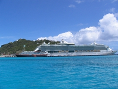 Regular sized cruise ships absolutely tower over our EasyCruise vessel; Philipsburg harbor