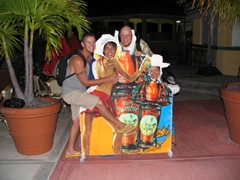 Robby, Luke, Bob and Ann pose in the Rum Jumbie advertisement