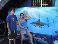Luke and Fran acting silly at Dive Safaris