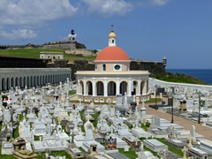 San Juan Cemetary is located between El Morro & the rocky cliffs above the Atlantic. It is particularly noteworthy for its elaborate tombstones and the circular neoclassical chapel dedicated to Mary Magdalen
