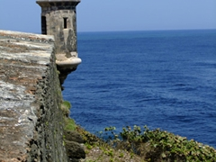 "Circular sentry boxes called ""garitas"" that have become a national symbol of Puerto Rico"