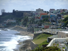 View from El Morro out to La Fortaleza Fortress; Old San Juan