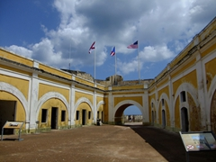Interior courtyard of El Morro Fortress, one of Old San Juan's must see destinations