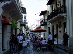 Cafes spill into the streets of Old San Juan