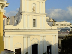 San Juan Cathedral (as seen from El Convento Hotel as the sun was setting)