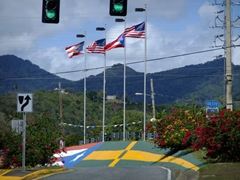 The Puerto Rican flag is proudly displayed EVERYWHERE in PR...notice the flag painted on the ground at this intersection?