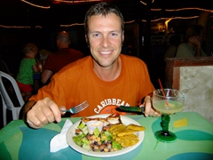 Robby about to chow down on his yummy dinner; Mamacitas in Culebra