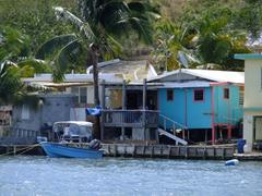 Colorful waterside shack; Culebra