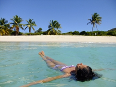 Becky soaking in the warm and placid sea off Playa Tortuga (Turtle Beach); Culebrita