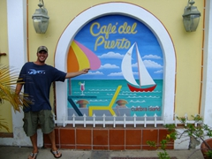 A slightly inebriated Robby checks out the main town of Dewey; Culebra