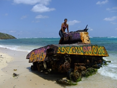 "Becky finds a ""girlie"" tank to pose beside; Flamenco Beach"