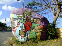 Colorful rock graffiti; outskirts of Esperanza