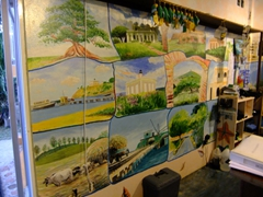 Scenes from Vieques painted on the inside of Island Adventure's office