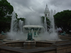 "Ponce's Plaza Las Delicias is dominated by this picturesque water fountain aptly named ""Lion's Fountain"""