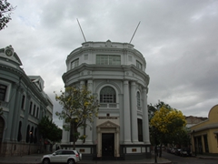 "Gorgeous buildings such as this ""Banco Popular"" surround Ponce's main plaza, known as Plaza Las Delicias"