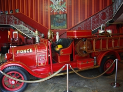 Interior view of Ponce's historic 1883 fire house and its fire engine