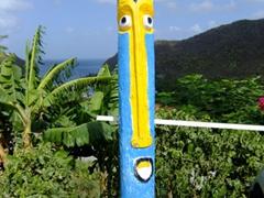 St Lucian style totem pole overlooking Marigot Bay