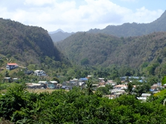 St Lucian village nestled between mountain ranges