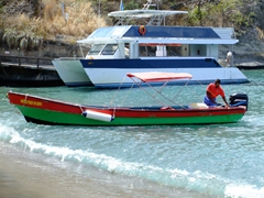 Colorful water taxi; Anse Chastanet