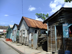 Wooden shacks; fishing village of Anse La Raye
