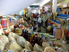 Souvenirs for sale at the Castries arts and crafts market