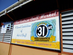 The Castries craft market proudly showcasing St Lucia's 31st year of independence