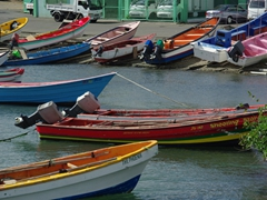 Colorful fishing boats; Castries
