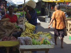 Locals talking at the Castries fruit and vegetable market