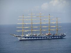 A grand five-masted barque just off South Frigate Bay