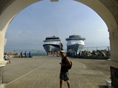 Robby points to our massive cruise ship; Port Zante