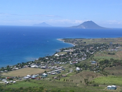 Oceanside view of St Kitts from Brimstone Fortress