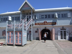 Frances strolls through the Pelican shopping mall to get from the harbor to downtown Basseterre