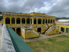 Ft Christiansvern is a mustard-yellow brick fort built by the Danes in 1749 to ward off pirates. It is complete with dungeons and cannons (but never saw battle). This is the best-preserved colonial fortification in the Virgin Islands