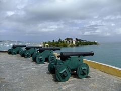 A row of cannons overlooks the Christiansted harbor