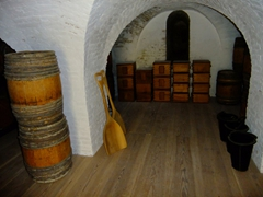 The powder magazine is the most dangerous room at Fort Christiansværn; housing the garrison's gunpowder. A single spark would have leveled the entire fort