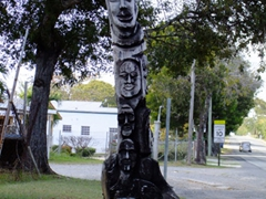 Interesting totem pole (made from the bottom half of a coconut tree)
