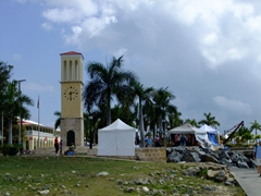 View of a clock tower near Frederiksted Harbor