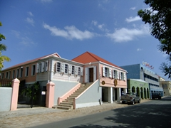 Lots of historic buildings line the waterfront street (Strand Street) in Frederiksted