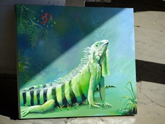 Iguana painting for sale; Frederiksted
