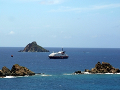 Our EasyCruise floating hotel is easily visible from St Barts