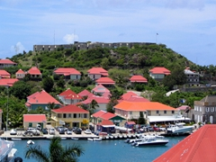View of Fort Oscar dominating the entrance to the harbor at Gustavia