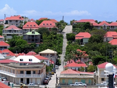 Houses on the hilly terrain near Fort Oscar; Gustavia