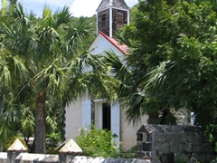 An old Anglican church near the harbor in Gustavia welcomes visitors